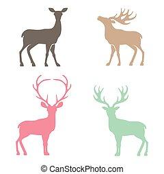 Various silhouettes of deer . - Various silhouettes of deer...