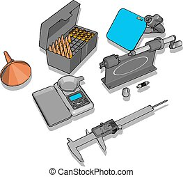 Various small tools, illustration, vector on white background.