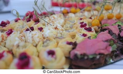 Various snacks on a restaurant in the catering