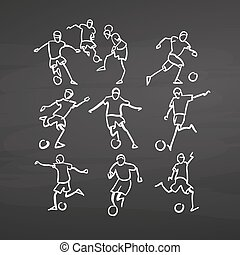 Various soccer player sketches on chalkboard