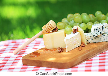 Various sorts of cheese and grapes