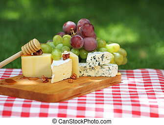 Various sorts of cheese with grapes