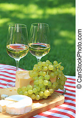 Various sorts of cheese with white wine - Various sorts of...