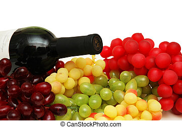 Various sorts of grapes with bottle of wine