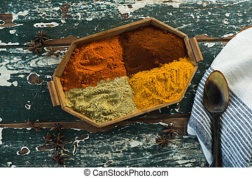 Various spice powder in wooden tray