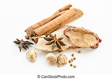Various spices heap.