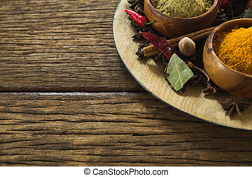 Various spices in plate