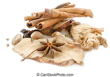 Various spices on a white.