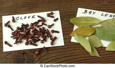 Various spices on old brown wooden table
