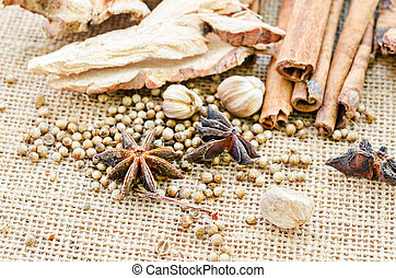 Various spices on sack.