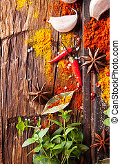 Various spices on wood - Various kinds of spices on wooden...