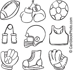 Various sport equipment doodle style
