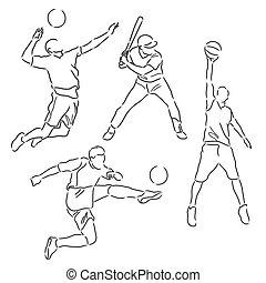 various sports athletes sketch vector