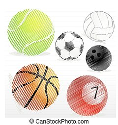 various sports ball - illustration of ball