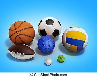 various sports balls 3d render on gradient