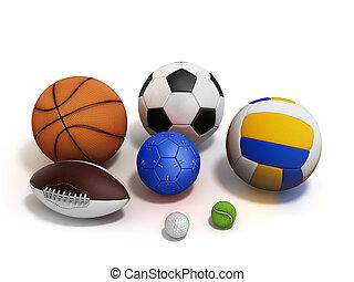 various sports balls 3d render on white