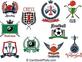 Various sports emblems and icons design