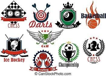 Various sports heraldic symbols and icons