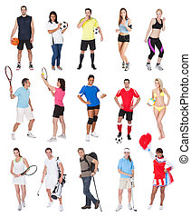Various sports people. Isolated on white background