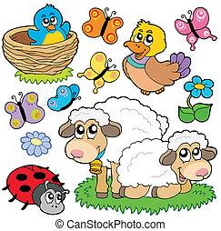 Various spring animals - vector illustration.