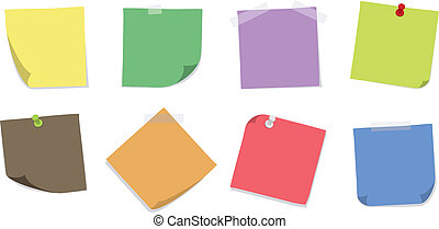 Various Sticky Notes - A set of 8 colorfull sticky notes ...