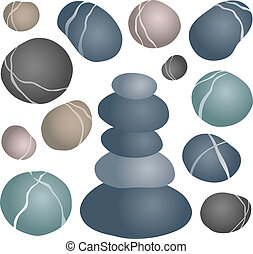 Various stones collection 2 - vector illustration.