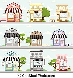 Various Store Front Building Background Illustration Design Set