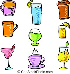 Various style drink set doodles