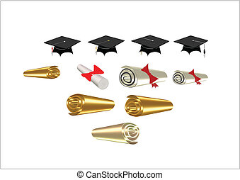 diplomas and mortar boards on white