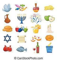 Various symbols and items of hanukkah celebration flat icons set isolated vector illustration
