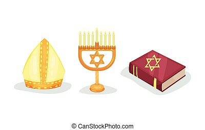 Various Symbols of Christian and Jewish Religion Vector Set