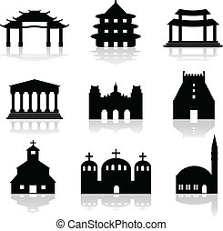 various temple and church illustrations