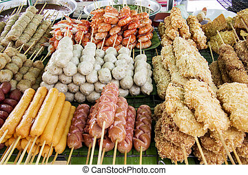 Thai street food - Various Thai street food on a cart in...