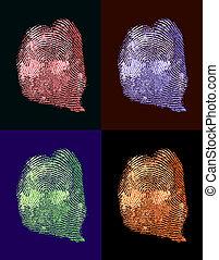 Various thumbprint. Colorful fingerprints.