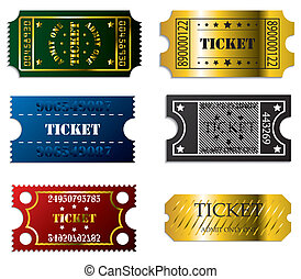 Various tickets  - Various ticket set of 6 in cool colors