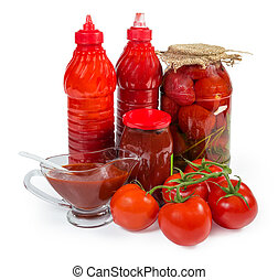 Various tomato sauces in different packings, fresh and canned tomatoes