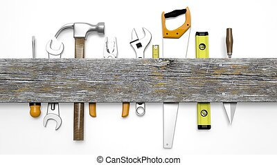 Various tools and wood with copy-space, isolated on white