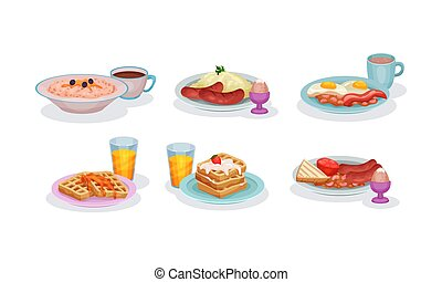 Various Traditional Breakfasts Of Different Countries Of The World Vector Illustration Set Isolated On White Background
