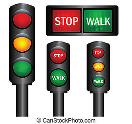 traffic lights - Various traffic lights from different...