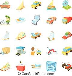 Various transportation icons set, isometric style