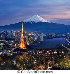 Various travel destination in Japan. Tokyo tower, Mt. Fuji,...