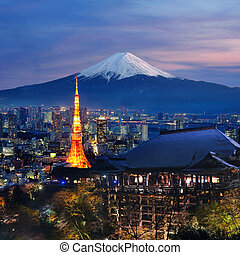 Various travel destination in Japan. Tokyo tower, Mt. Fuji,...