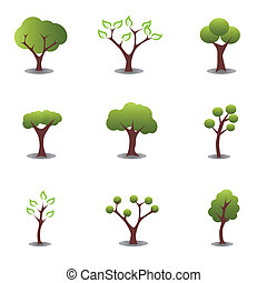 Various trees in green