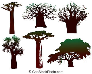 silhouettes of various African trees and bushes - vector