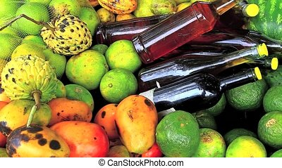 various tropical fruits - Variety of tropical fruits and...