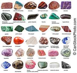 various tumbled decorative stones with names