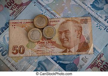 Various Turkish Lira Banknotes anc Coins