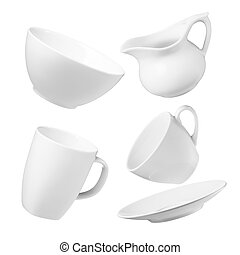 various type of crockery isolated on white