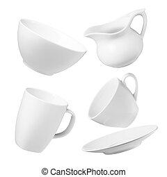 crockery - various type of crockery isolated on white