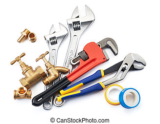 plumbing tools - various type of plumbing tools on white...
